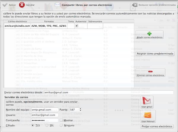 Pantalla de configuración de email de Calibre